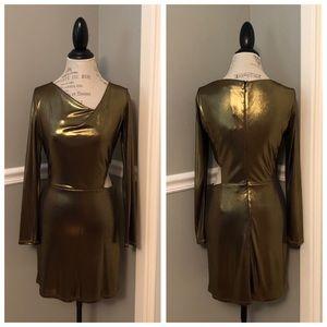 NEW HALSTON COUTURE BRONZE SHIMMER CUTOUT DRESS
